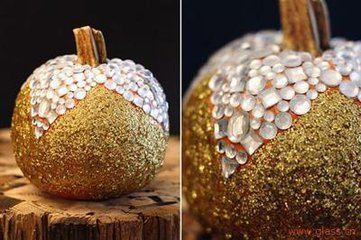 Autumn harvest decorative artificial glitter pumpkins