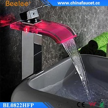 Beelee BL0822HFP Brass Glass Bathroom Basin LED Faucet With Hydro Power