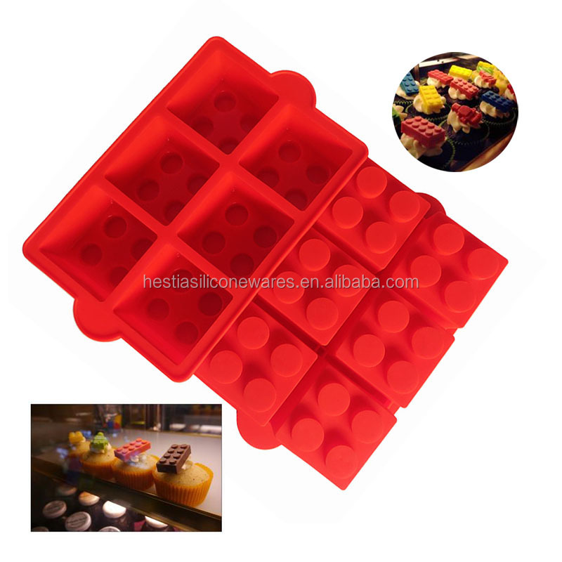 "Amazon hot FDA approved food grade 6 cavities large 2"" lego brick silicone cake mold for microwave cake"
