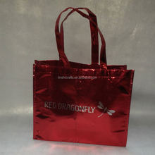 2017 shiny glossy lamination red non woven tote bag with handles