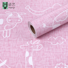 Lovely animal design vinyl cartoon bedroom wallpaper sticker kids wallpaper