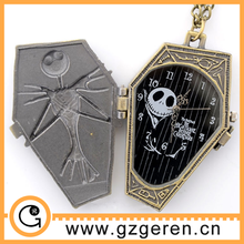 2015 Best Halloween Gift Skull Relievo Cartoon Pocket Watch For Fashion Men