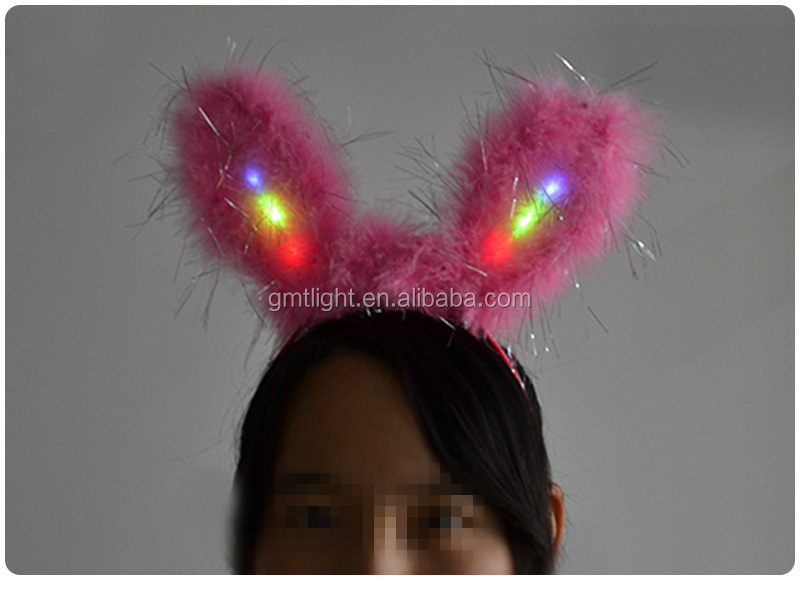 Christmas fur led flashing bunny ear head bopper