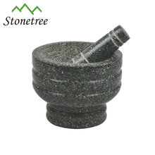 13x10cm Engraved Polished Granite Stone Mortar and Pestle