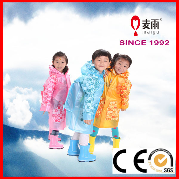 high quality hot sale reusable clear kids raincoat