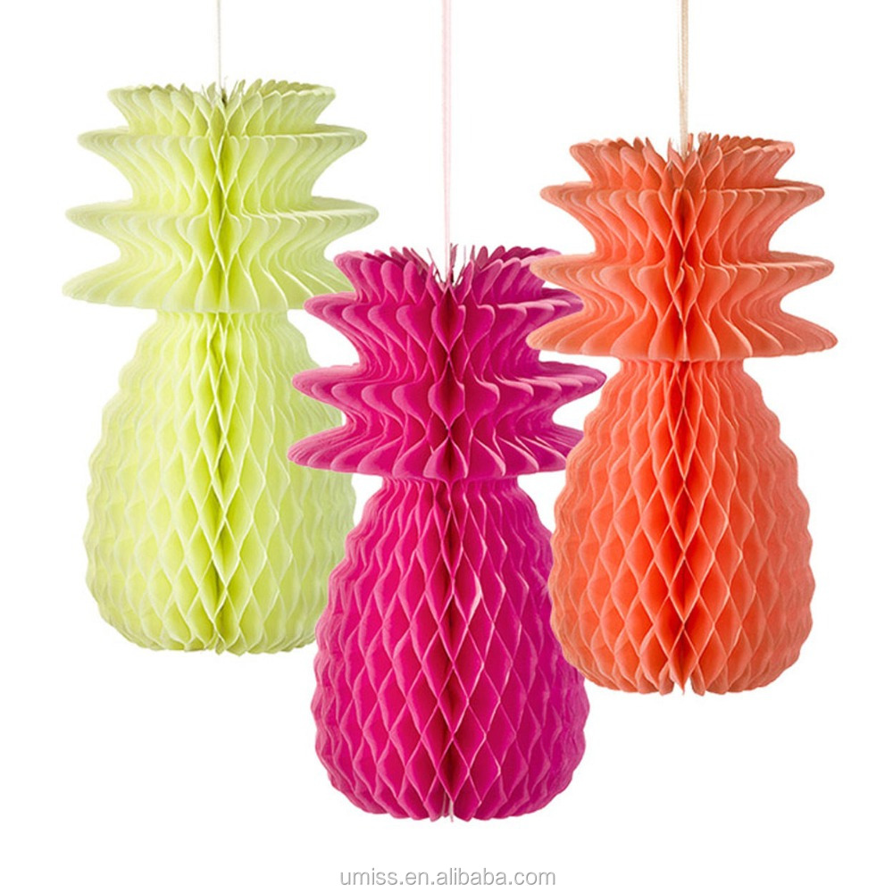 Umiss 3pcs Folding Paper Honeycomb Pineapple Hanging Decorations for Party Table
