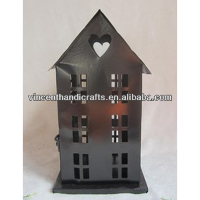 Festival Decor Antique House Shape Metal Candle lantern Stand heart iron lantern