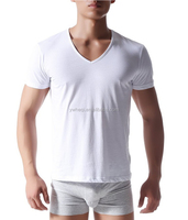 OEM Service V-neck 100% Cotton T-shirts Wholesale Men's Basic T Shirt Custom Cheap Bulk Blank T Shirt