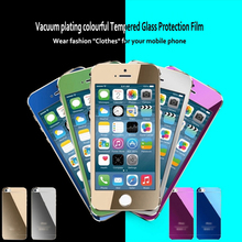 Rainbow Front + Back Tempered Glass For Iphone 4/4s Explosion-proof Fashion Colors Screen Protector Film For Iphone4 /4s
