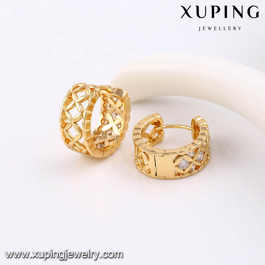 91452-xuping fashion wholesale indian brass jewelry, gold diamond designs wedding earring