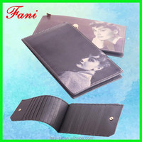 Printed bifold multi credit card holder genuine cowhide leather wallet for human