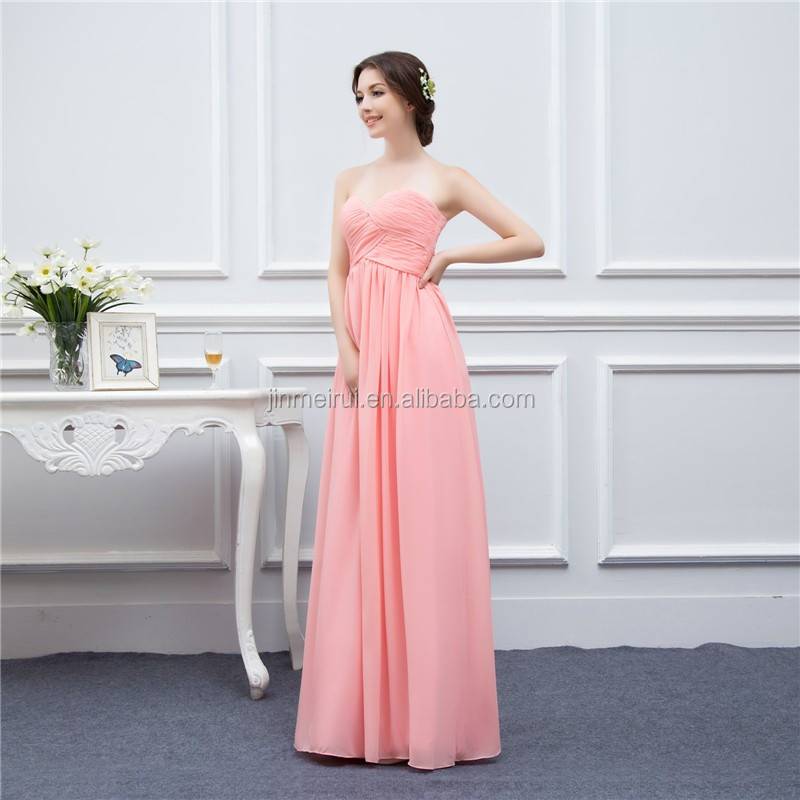 Long Bridesmaid Dresses Coral Chiffon Sweetheart Cheap Brides Maid Dress Real Photo
