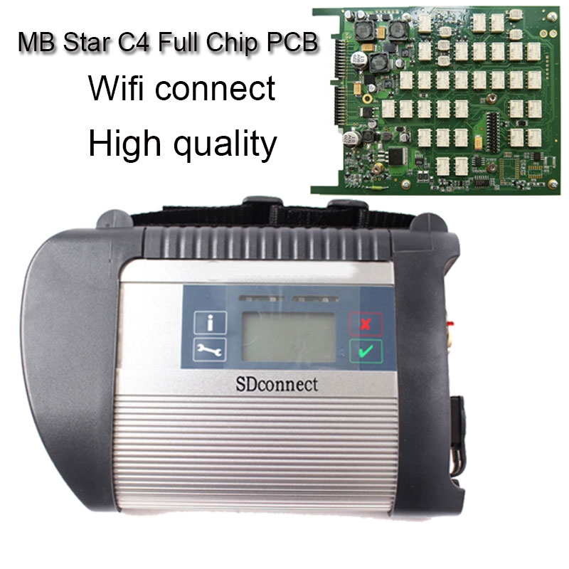 Newest Full Chip V2016.12 MB Star C4 Sd Connect for car & truck Auto Diagnostic-tool (12V+24V) with WIFI SD Diagnosis