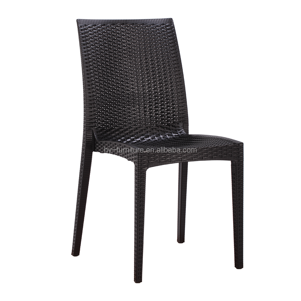 High Quality Black Dining Room PP Plastic Rattan Stacking Chair
