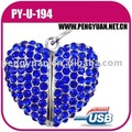 newest laser engraved heart shape crystal metal usb pendrive for gift