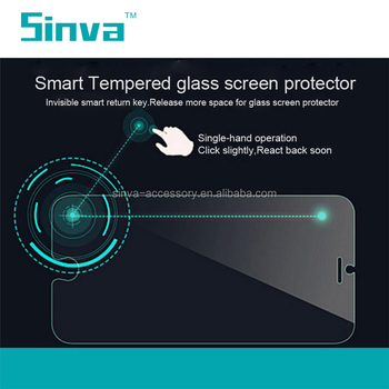 Top brand Sinva Return button smart key tempered glass screen protector for iphone 6s with a return key on the screen