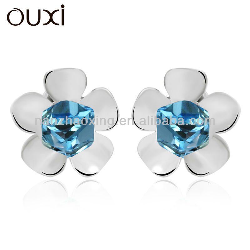 OUXI Hot Sale Flower shaped crystal earring made with warovski elements