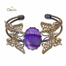 Time plus moonstone purple stone wholesale vintage jewelry butterfly for women gifts adjustable cuff copper brass bangle