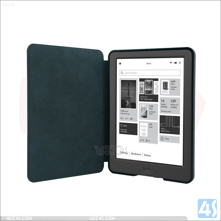 Magnet Folio PU Leather Case Smart Cover Protective Shell Skin Sleeve Pouch with Sleep/wake up for Kobo Glo HD 6 inch