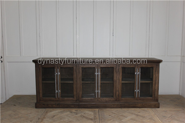 Recycled wood furniture filing kitchen cabinet with shelf