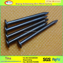 Ribbed zinc coated black import nails steel,18 gauge nail size,double headed concrete nail