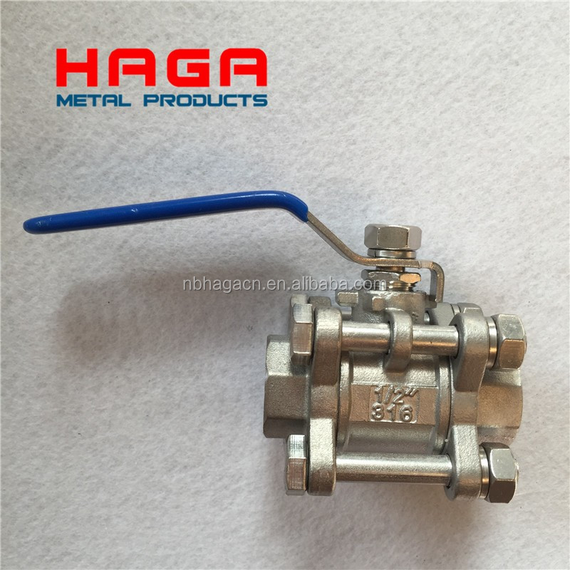 3PC 800WOG 1000WOG Stainless steel 304 316 Ball valve