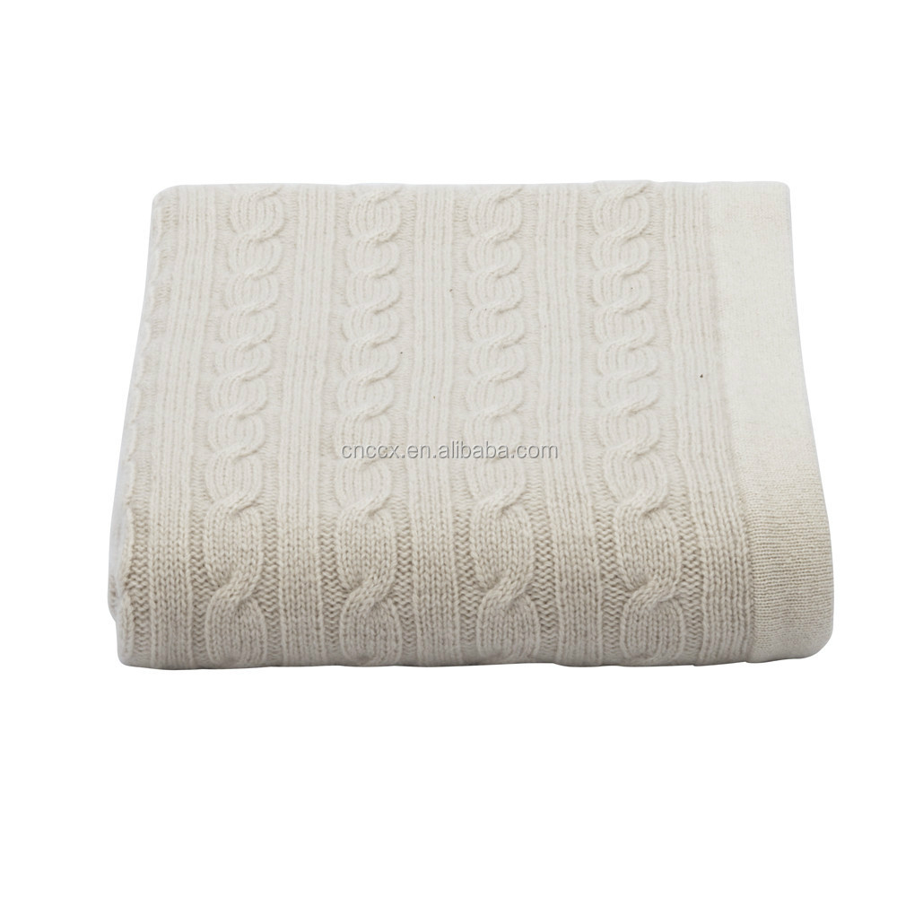 15JWS0719 100%cashmere cable knitted travel blanket beach blanket