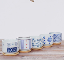 blue and white flower pot with bamboo sauce