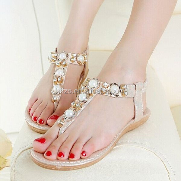 HFR-T0032 large size wholesale fashion flat latest woman sandal for 2014
