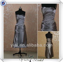 RSE168 Ladies Tea Length Silver Gray Formal Short Dresses Patterns