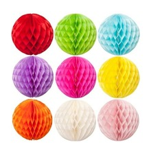 Multi Color And Size Tissue Paper Craft Honeycomb Balls For Party Decoration