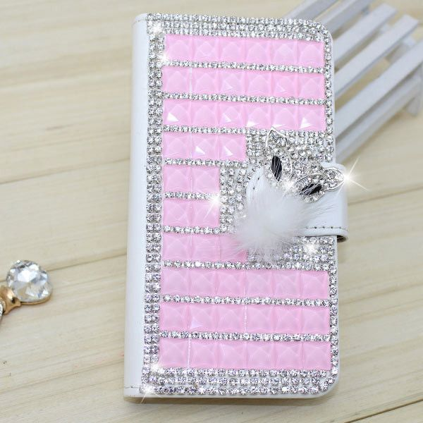 Fashion PU Leather Full Cover Crystal Bling Diamond Phone Case for Samsung Galaxy S6 Edge Plus
