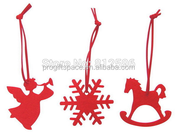 free shipping new hot sale 2017 christmas outdoor tree hanging ornament felt snowflake angel rocking horse decoration