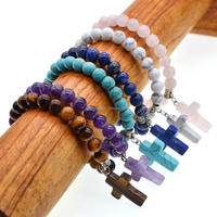 Natural Semi precious Cross Pendant 8MM Beads Chakra Healing Women Bracelet