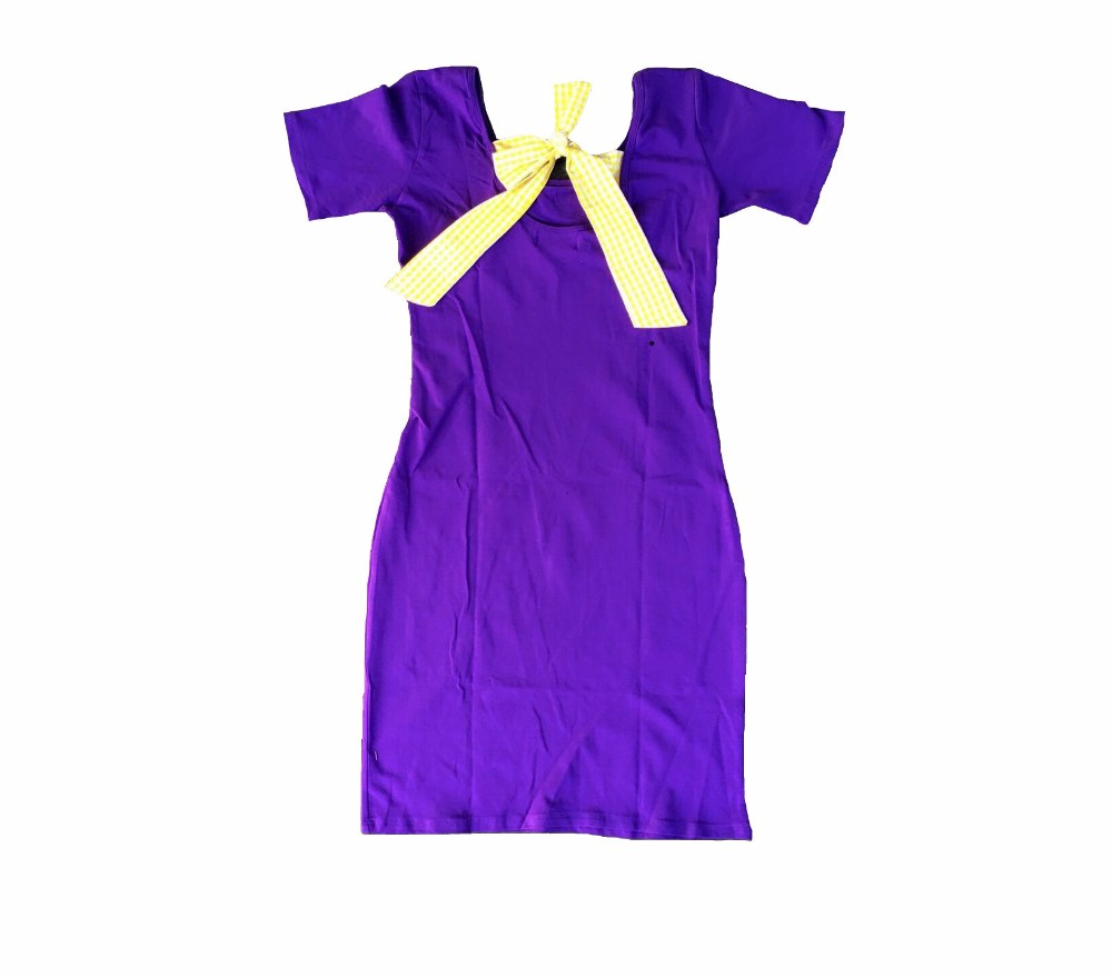 Wholesale adult Game Day solid color jersey dress women cotton slim with bow-knot short sleeve dresses