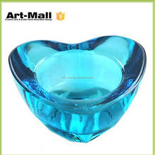 China Fashionable Blue replacement glass heart sublimation candle holders