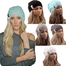 Fashion women Knitting Hat casual Hollow Out Leaves lace button wool hat