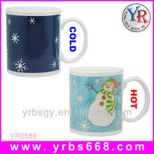 18 years factory cheap coloured coffee cups wholesale with winter snowman pattern