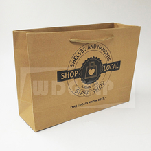 Shopping/Gift/Bakery Cheap Small Flat Handle Kraft Paper Bag With Logo Print