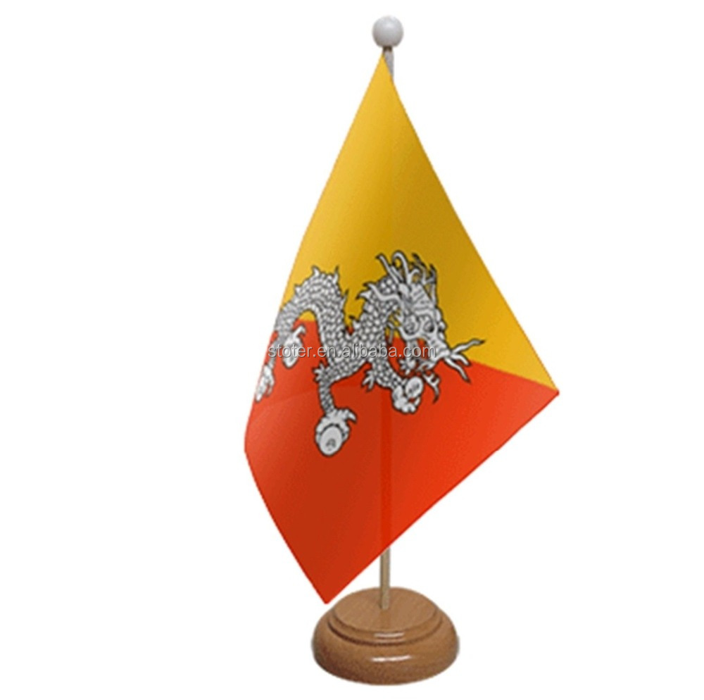 Bhutan 35cm high custom size company logo printed table top desk flag