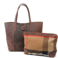 Vintage style fashionable lady leather totes