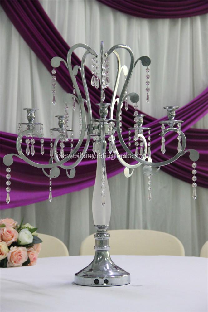 Metal chrome candelabra glass centerpieces