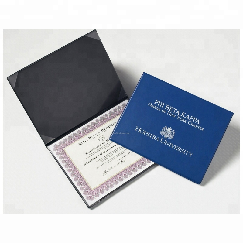 Cheap Price Royal Hard Cover Faux Leather Folding certificate Cover Diploma Holder