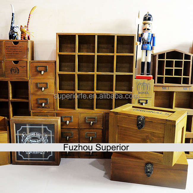Factory Direct Selling Unfinished Small Wooden Box with Drawers
