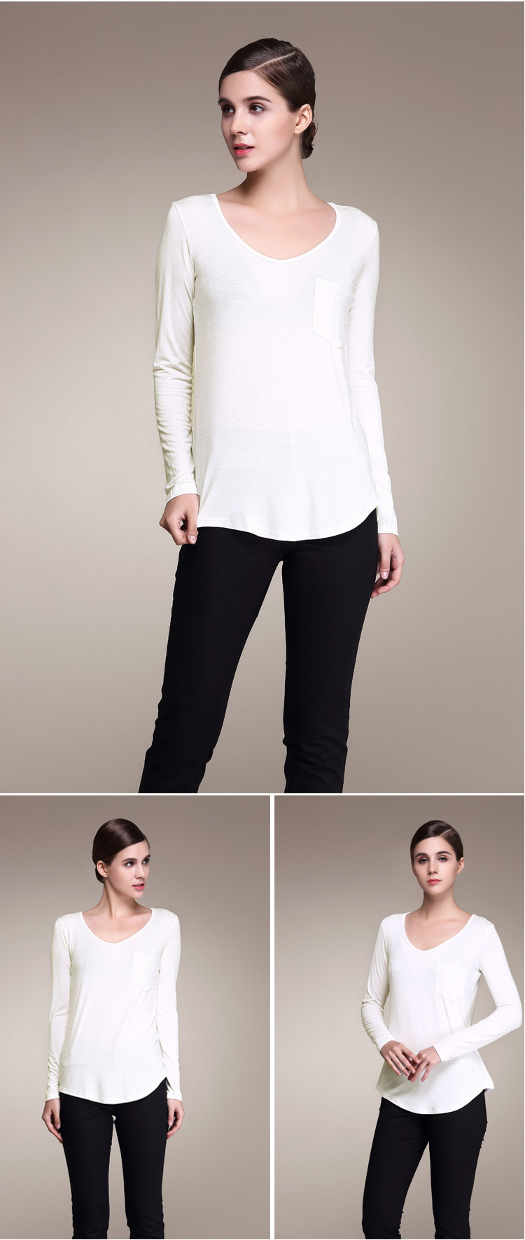 Female t-shirt modal loose women's large-size V-necklace shirt bottoming shirt new wholesale