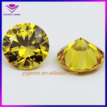 Hot Sale Synthetic CZ Gemstone Pretty Beautiful Golden Yellow with Round Shapes CZ in High Quality low price