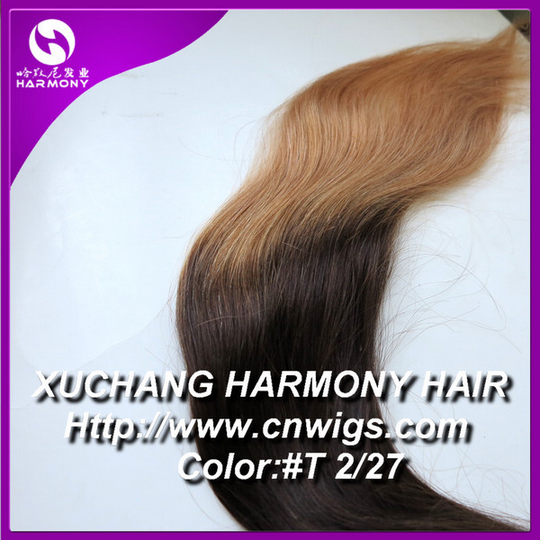 Stock 160G grey color clip in hair extension/triple weft clip in hair extension/two tone clip in hair extension
