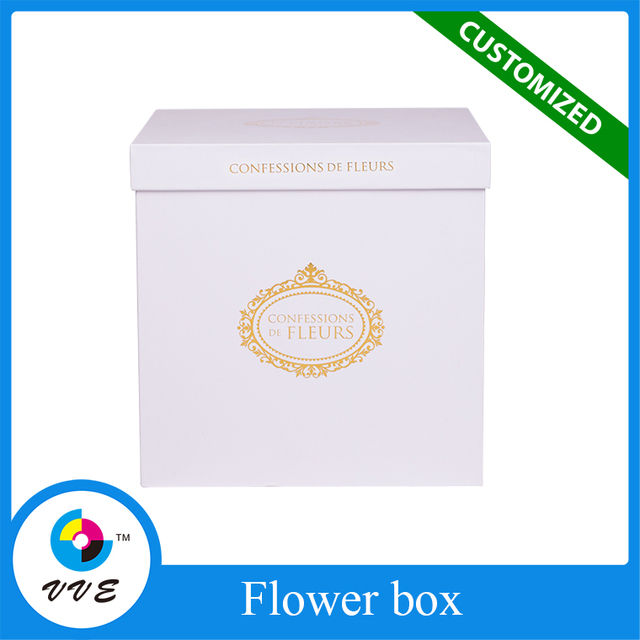 Fashion design flower shipping box white square box for sale