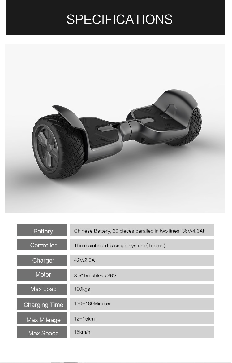 2 Wheel Hoverboard Self Balancing Bluetooth Electric Scooter