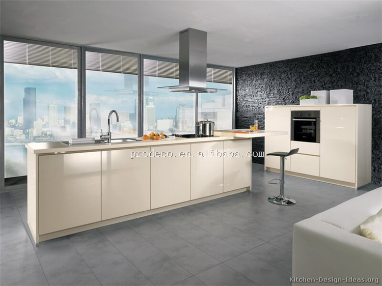 High gloss modern kitchen cabinet designs with cream color for Modern cream kitchen cabinets